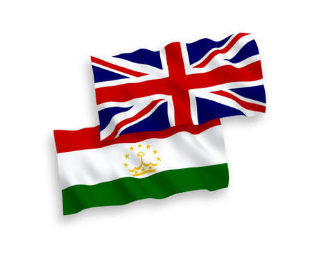 National vector fabric wave flags of Great Britain and Tajikistan isolated on white background. 1 to 2 proportion.