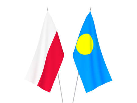 National fabric flags of Palau and Poland isolated on white background. 3d rendering illustration. Foto de archivo - 157433808
