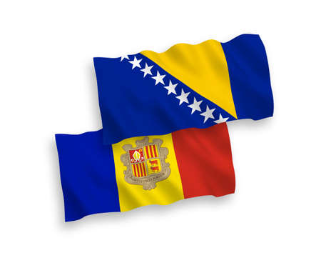 National vector fabric wave flags of Bosnia and Herzegovina and Andorra isolated on white background. 1 to 2 proportion. Foto de archivo - 157456856