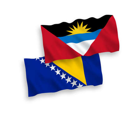 National vector fabric wave flags of Bosnia and Herzegovina and Antigua and Barbuda isolated on white background. 1 to 2 proportion. Vectores