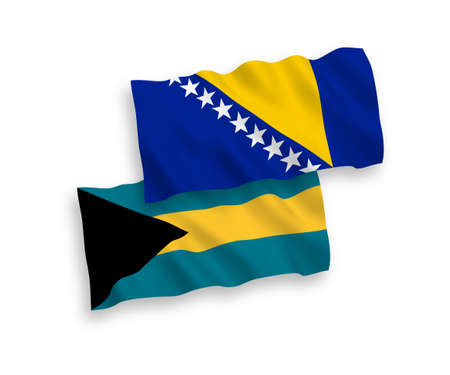 National vector fabric wave flags of Bosnia and Herzegovina and Commonwealth of The Bahamas isolated on white background. 1 to 2 proportion. Vectores