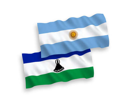 National vector fabric wave flags of Lesotho and Argentina isolated on white background. 1 to 2 proportion.