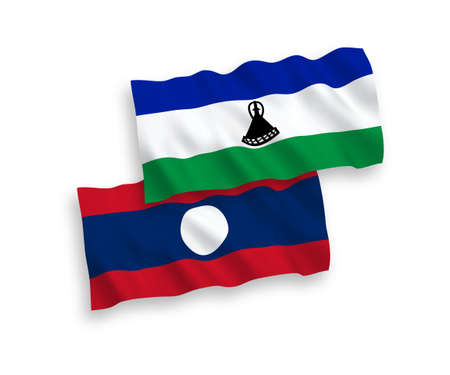 National vector fabric wave flags of Lesotho and Laos isolated on white background. 1 to 2 proportion.