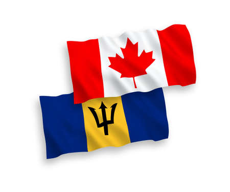 National vector fabric wave flags of Canada and Barbados isolated on white background. 1 to 2 proportion. Foto de archivo - 157456862