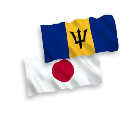 National vector fabric wave flags of Japan and Barbados isolated on white background. 1 to 2 proportion.