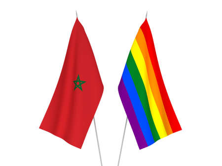National fabric flags of Morocco and Rainbow isolated on white background. 3d rendering illustration. Foto de archivo - 157456865