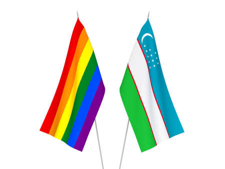 National fabric flags of Uzbekistan and Rainbow gay pride isolated on white background. 3d rendering illustration. Foto de archivo - 157456866