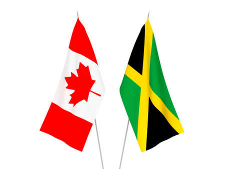 National fabric flags of Jamaica and Canada isolated on white background. 3d rendering illustration. Foto de archivo