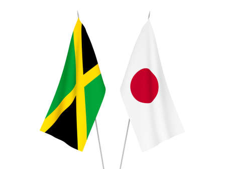 National fabric flags of Japan and Jamaica isolated on white background. 3d rendering illustration. Foto de archivo - 157437582