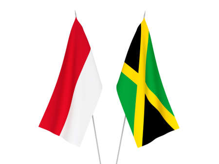 National fabric flags of Jamaica and Indonesia isolated on white background. 3d rendering illustration. Foto de archivo - 157436783