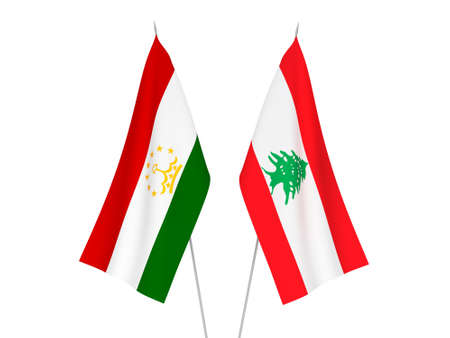National fabric flags of Lebanon and Tajikistan isolated on white background. 3d rendering illustration.
