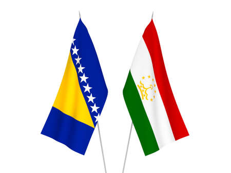 National fabric flags of Bosnia and Herzegovina and Tajikistan isolated on white background. 3d rendering illustration.