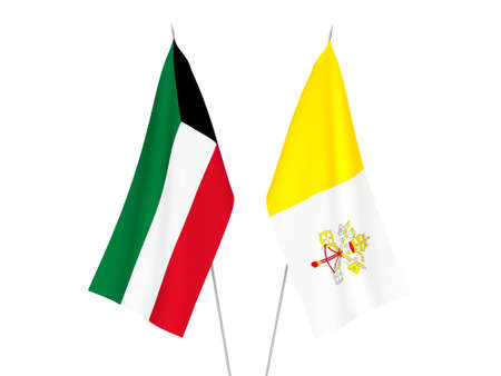 National fabric flags of Kuwait and Vatican isolated on white background. 3d rendering illustration. Foto de archivo