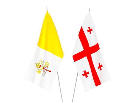 National fabric flags of Georgia and Vatican isolated on white background. 3d rendering illustration. Foto de archivo - 157438103