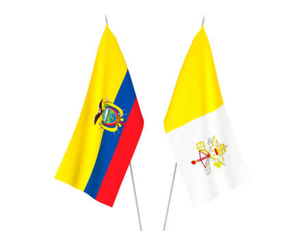 National fabric flags of Ecuador and Vatican isolated on white background. 3d rendering illustration. Foto de archivo - 157436730