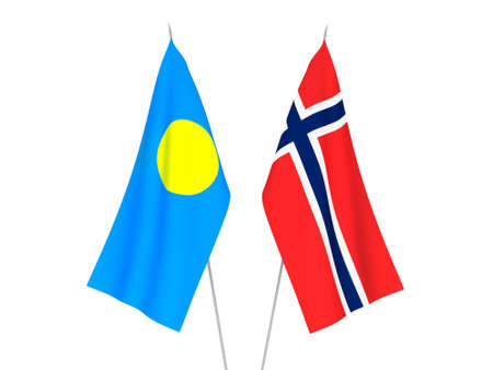 National fabric flags of Norway and Palau isolated on white background. 3d rendering illustration.