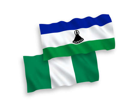 National vector fabric wave flags of Lesotho and Nigeria isolated on white background. 1 to 2 proportion.