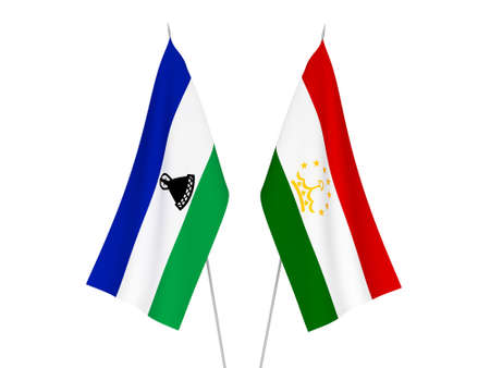 National fabric flags of Lesotho and Tajikistan isolated on white background. 3d rendering illustration.