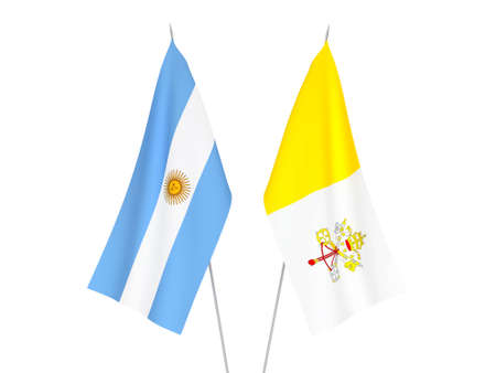 National fabric flags of Argentina and Vatican isolated on white background. 3d rendering illustration. Foto de archivo