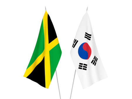 National fabric flags of South Korea and Jamaica isolated on white background. 3d rendering illustration. Foto de archivo - 157521430