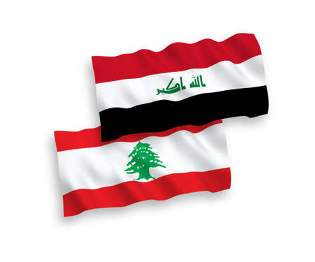 National vector fabric wave flags of Lebanon and Iraq isolated on white background. 1 to 2 proportion. Foto de archivo - 157529378