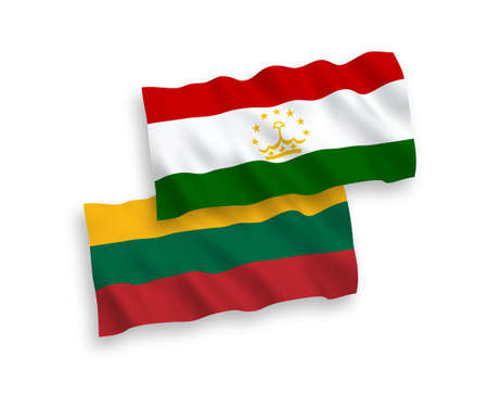 National vector fabric wave flags of Lithuania and Tajikistan isolated on white background. 1 to 2 proportion.