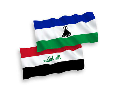 National vector fabric wave flags of Lesotho and Iraq isolated on white background. 1 to 2 proportion.