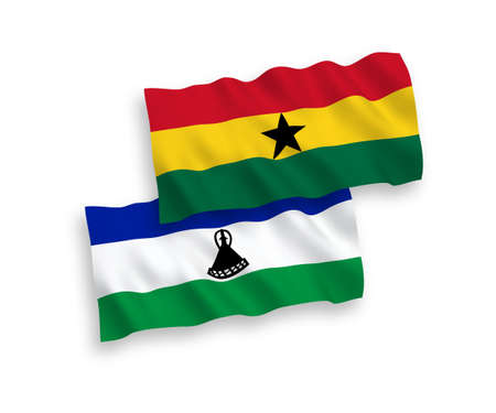 National vector fabric wave flags of Lesotho and Ghana isolated on white background. 1 to 2 proportion. Vectores