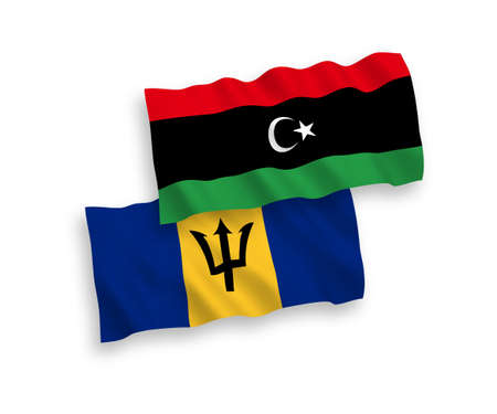 National vector fabric wave flags of Barbados and Libya isolated on white background. 1 to 2 proportion.