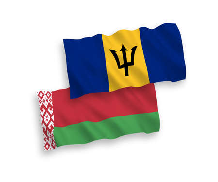 National vector fabric wave flags of Barbados and Belarus isolated on white background. 1 to 2 proportion. Vectores