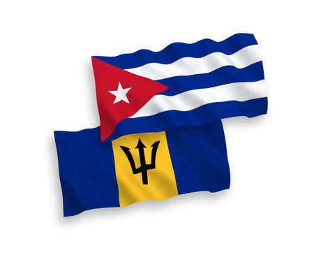 National vector fabric wave flags of Barbados and Cuba isolated on white background. 1 to 2 proportion. Vectores