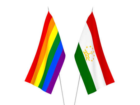 National fabric flags of Tajikistan and Rainbow gay pride isolated on white background. 3d rendering illustration.