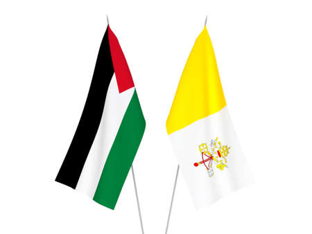 National fabric flags of Palestine and Vatican isolated on white background. 3d rendering illustration.