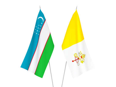 National fabric flags of Uzbekistan and Vatican isolated on white background. 3d rendering illustration.