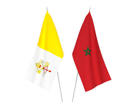 National fabric flags of Morocco and Vatican isolated on white background. 3d rendering illustration.