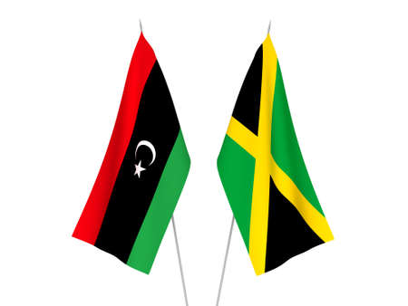 National fabric flags of Libya and Jamaica isolated on white background. 3d rendering illustration.