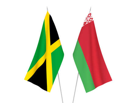 National fabric flags of Belarus and Jamaica isolated on white background. 3d rendering illustration. Foto de archivo