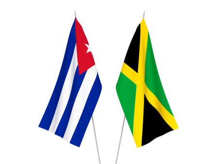 National fabric flags of Cuba and Jamaica isolated on white background. 3d rendering illustration.