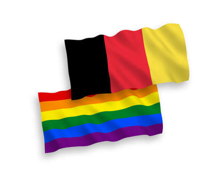 National vector fabric wave flags of Rainbow gay pride and Belgium isolated on white background. 1 to 2 proportion.