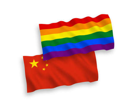 National vector fabric wave flags of Rainbow gay pride and China isolated on white background 1 to 2 proportion. Vectores
