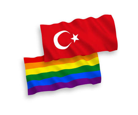 National vector fabric wave flags of Turkey and Rainbow gay pride isolated on white background. 1 to 2 proportion.