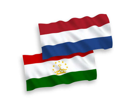 National vector fabric wave flags of Tajikistan and Netherlands isolated on white background. 1 to 2 proportion.