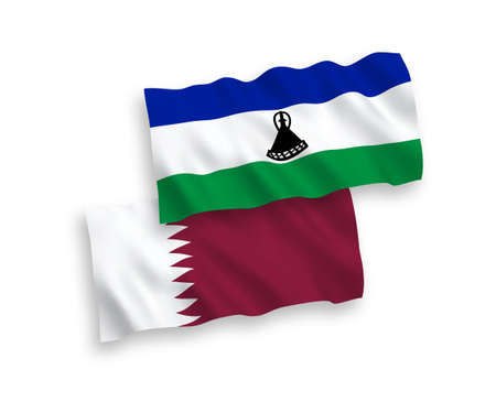 National vector fabric wave flags of Lesotho and Qatar isolated on white background. 1 to 2 proportion. Vectores