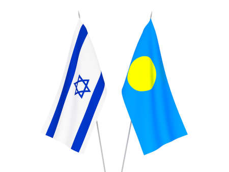 National fabric flags of Palau and Israel isolated on white background. 3d rendering illustration. Foto de archivo