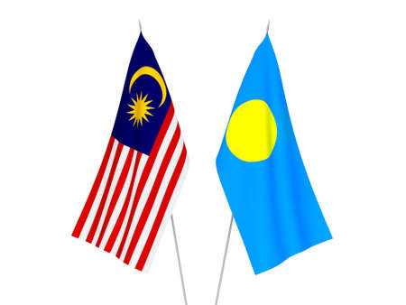 National fabric flags of Malaysia and Palau isolated on white background. 3d rendering illustration. Foto de archivo