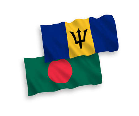 National vector fabric wave flags of Barbados and Bangladesh isolated on white background. 1 to 2 proportion. Vectores