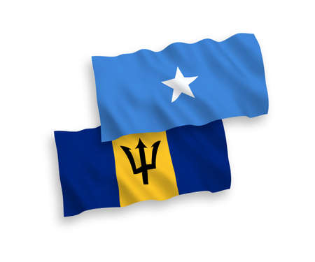 National vector fabric wave flags of Barbados and Somalia isolated on white background. 1 to 2 proportion.