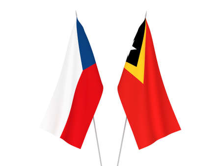 National fabric flags of East Timor and Czech Republic isolated on white background. 3d rendering illustration.
