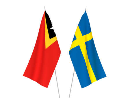 National fabric flags of Sweden and East Timor isolated on white background. 3d rendering illustration.