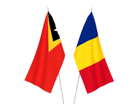 National fabric flags of Romania and East Timor isolated on white background. 3d rendering illustration.